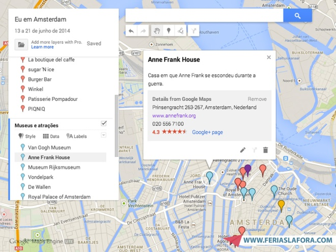 Mapa com pontos de interesse em Amsterdã
