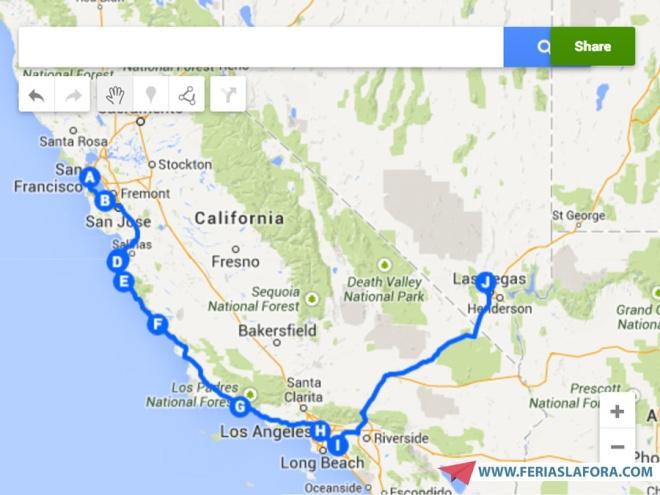 De São Francisco a Las Vegas passando por Los Angeles