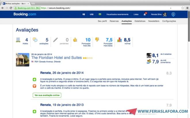 O Booking pede para você fazer uma avaliação do hotel, e constrói um ranking bem bacana com as notas dos clientes.