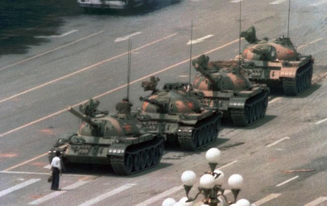 Hoje para diante de tanque em manifestações pró-democracia, 1989.