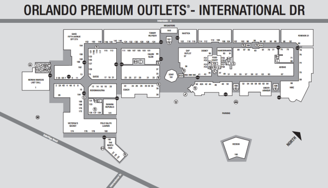 Mapa de lojas do Premium Outlets International Drive
